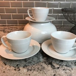 Textured by Pottery Barn Cup and Saucer Lot of 3